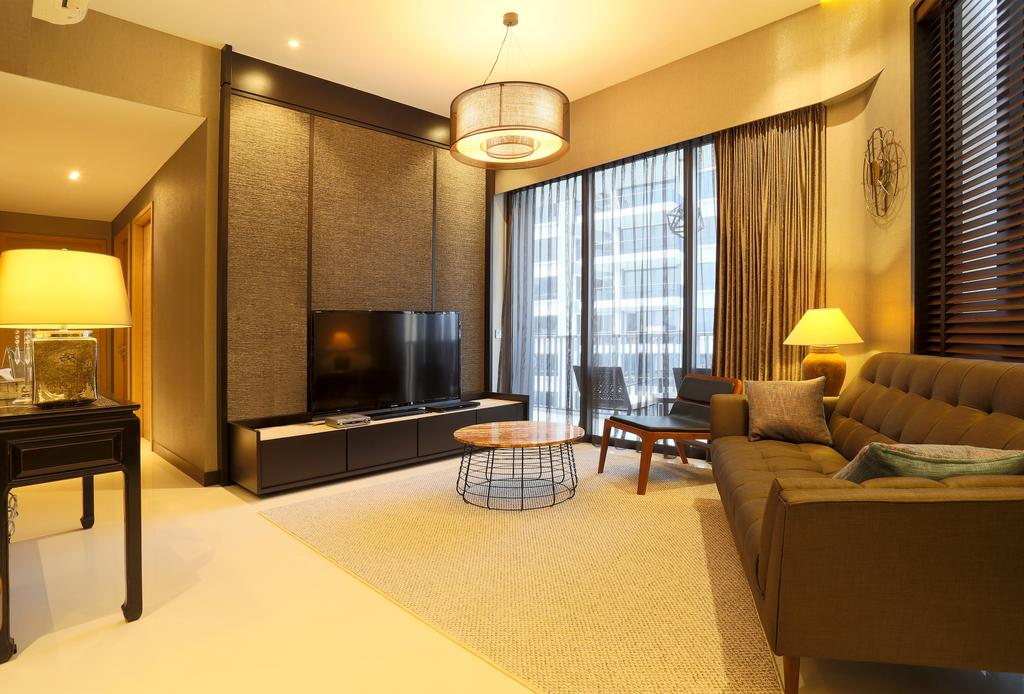 Contemporary, Condo, Living Room, D'Leedon, Interior Designer, United Team Lifestyle, Hanging Lamp, Ceiling Lamp, Round Lamp, Coffee Table, Round Coffee Table, Feature Wall, Tv Cabinet, Tv Console, , Fabric Sofa, Sofa, Grey Sofa, Warm Lighting, Yellow Lighting, Table Lamp, Couch, Furniture, Indoors, Room, Interior Design, Dining Table, Table