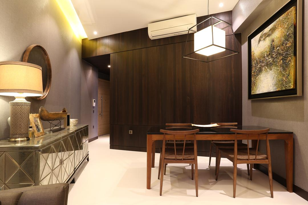 D'Leedon, United Team Lifestyle, Contemporary, Dining Room, Condo, Cabinet, Dark Wood, Walkway, Silver, Silver Cabinet, Dining Table, Furniture, Table, Indoors, Interior Design, Room, Lamp