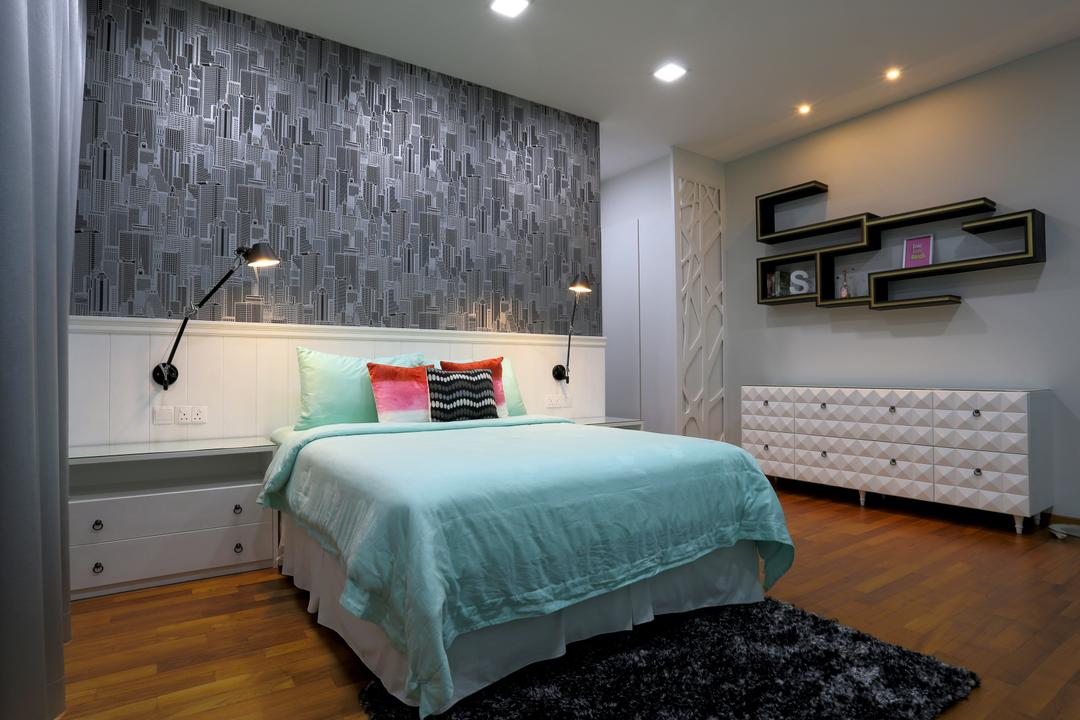 Jalan Gelenggang, United Team Lifestyle, Contemporary, Bedroom, Landed, Blue, Tiffany Blue, Carpet, Bedside Lamp, Bedside Table, Cabinet, White Cabinet, Wallpaper, Downlight, Bed, Furniture, Indoors, Interior Design, Room