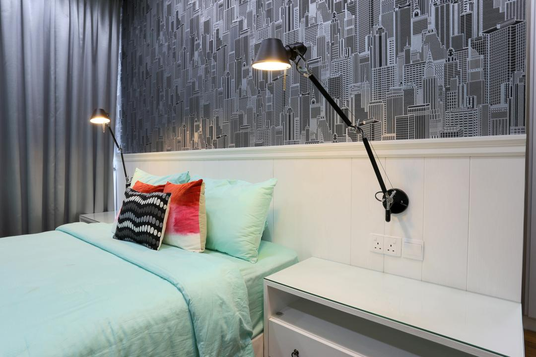 Jalan Gelenggang, United Team Lifestyle, Contemporary, Bedroom, Landed, Wallpaper, Grey, Grey Wallpaper, Grey Curtains, Bedside Lamp, Bed, Furniture