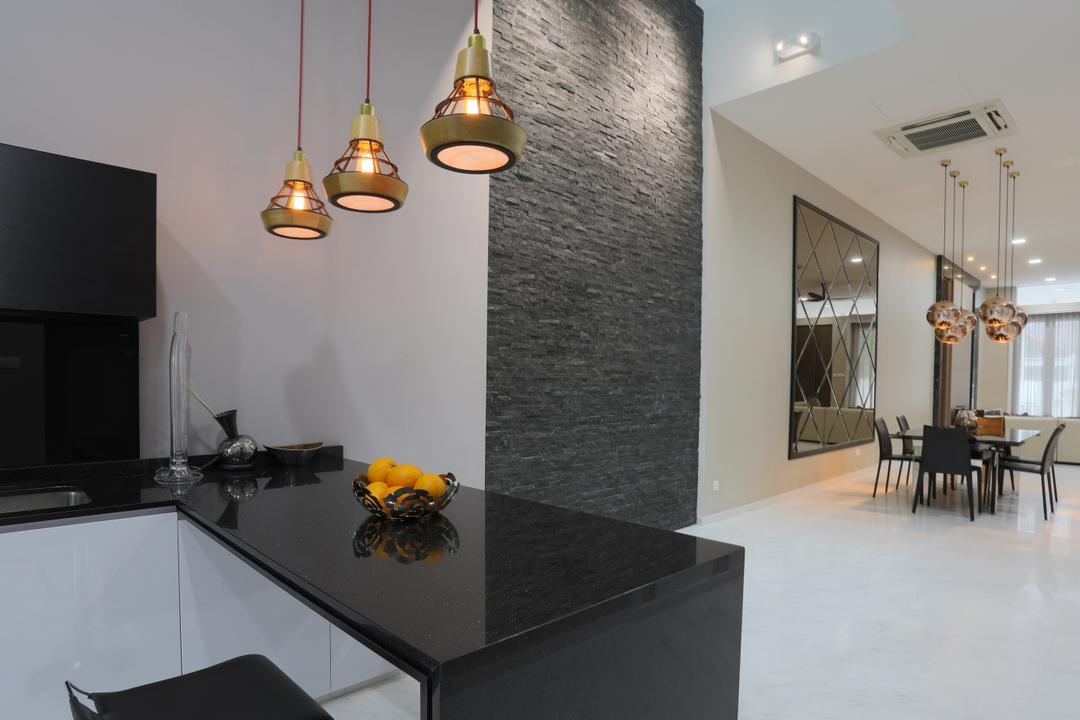 Jalan Gelenggang, United Team Lifestyle, Contemporary, Kitchen, Landed, Hanging Lamp, Pendant Lamp, Craftstones, Black Countertop, Kitchen Countertop, Granite Countertop, Quartz Countertop, Black And White, Indoors, Interior Design, Flooring, Dining Table, Furniture, Table, Dining Room, Room