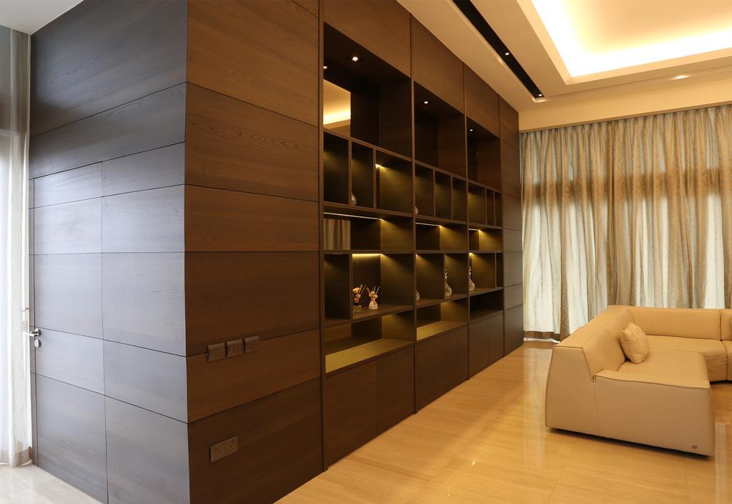 Traditional, Condo, Living Room, Silversea, Interior Designer, United Team Lifestyle, Display Shelf, Storage, Storage Ideas, Shelf, Pigeon Hole, Bookcase, Furniture, Couch, Lighting