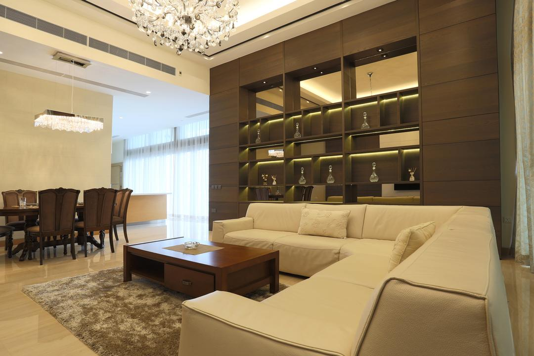 Silversea, United Team Lifestyle, Traditional, Living Room, Condo, L Shaped Sofa, White Sofa, Fabric Sofa, Coffee Table, Carpet, Chandelier, Shelves, Shelf, Display Shelf, Wood, Dark Wood, Couch, Furniture, Indoors, Interior Design, HDB, Building, Housing, Loft, Dining Table, Table