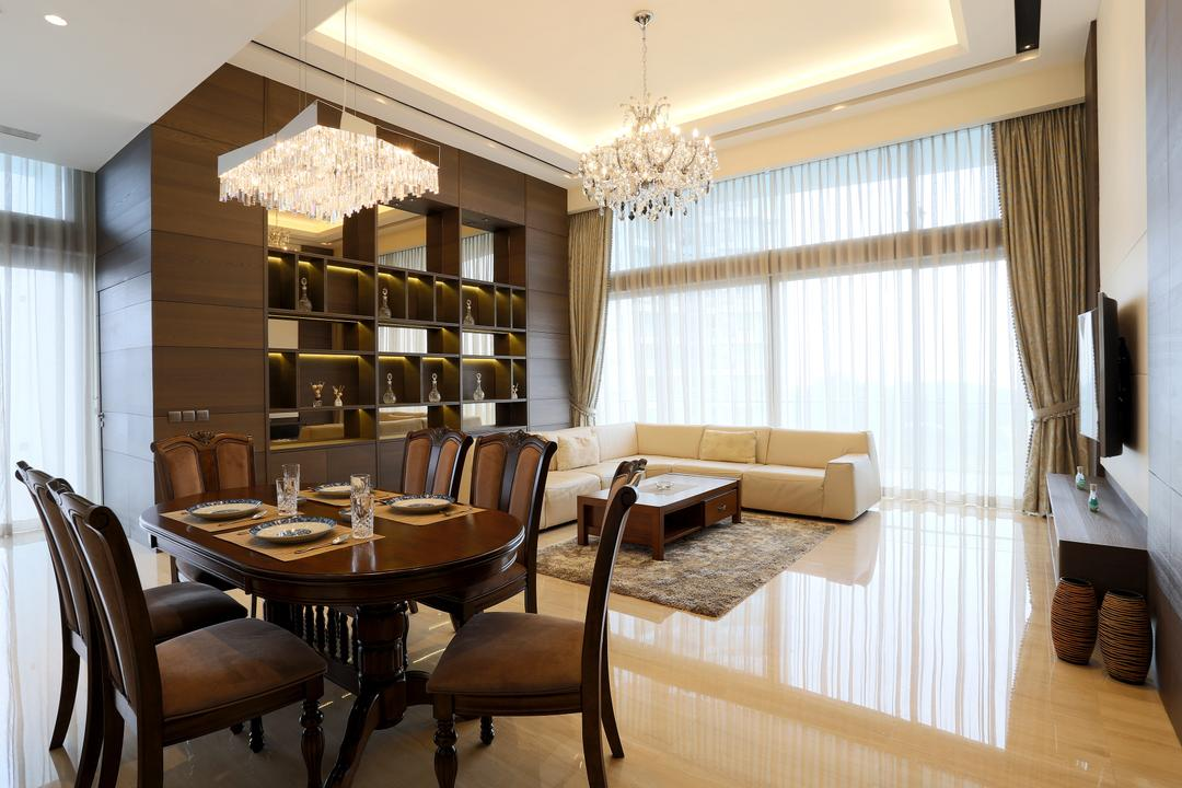 Silversea, United Team Lifestyle, Traditional, Living Room, Condo, Chandelier, Crystal Lights, False Ceiling, Cove Lighting, Brown, Brown Furniture, Dark Brown, Dining Table, , Classic, Dining Chairs, Shelf, Shelves, Curtains, Dining Room, Indoors, Interior Design, Room, Chair, Furniture