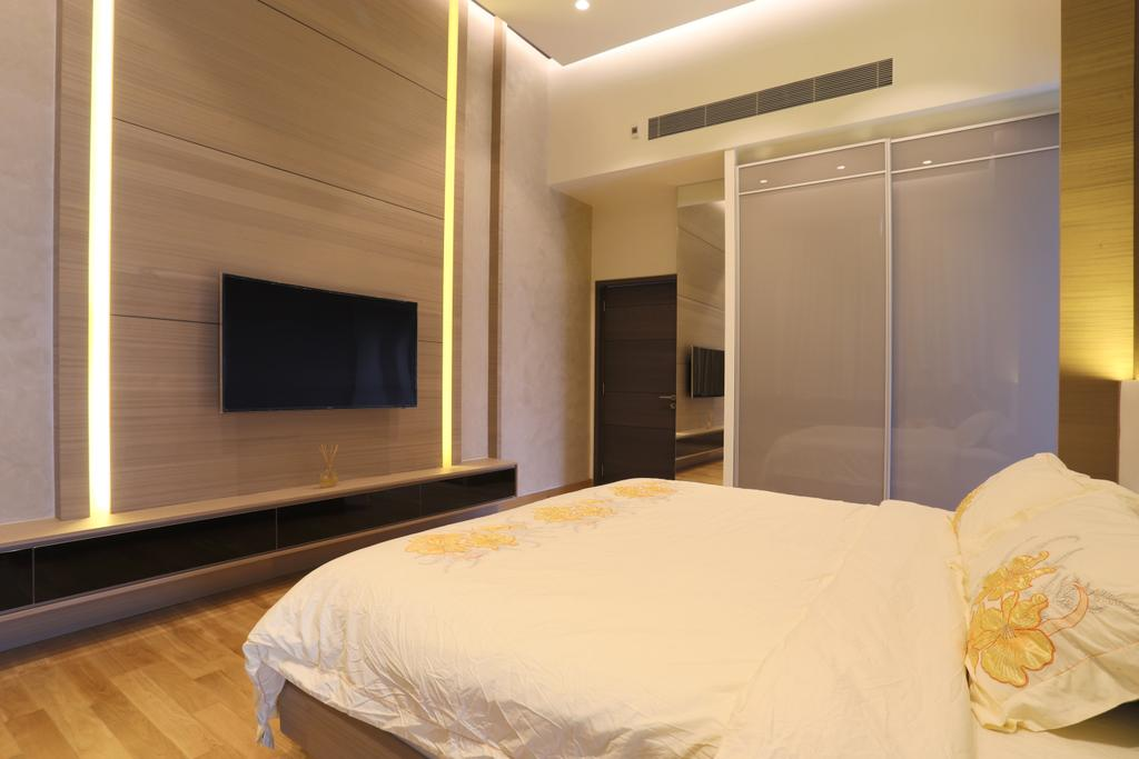 Traditional, Condo, Bedroom, Silversea, Interior Designer, United Team Lifestyle, Feature Wall, Wall Mounted Tv, Tv Console, Floating Console, Bed, Furniture