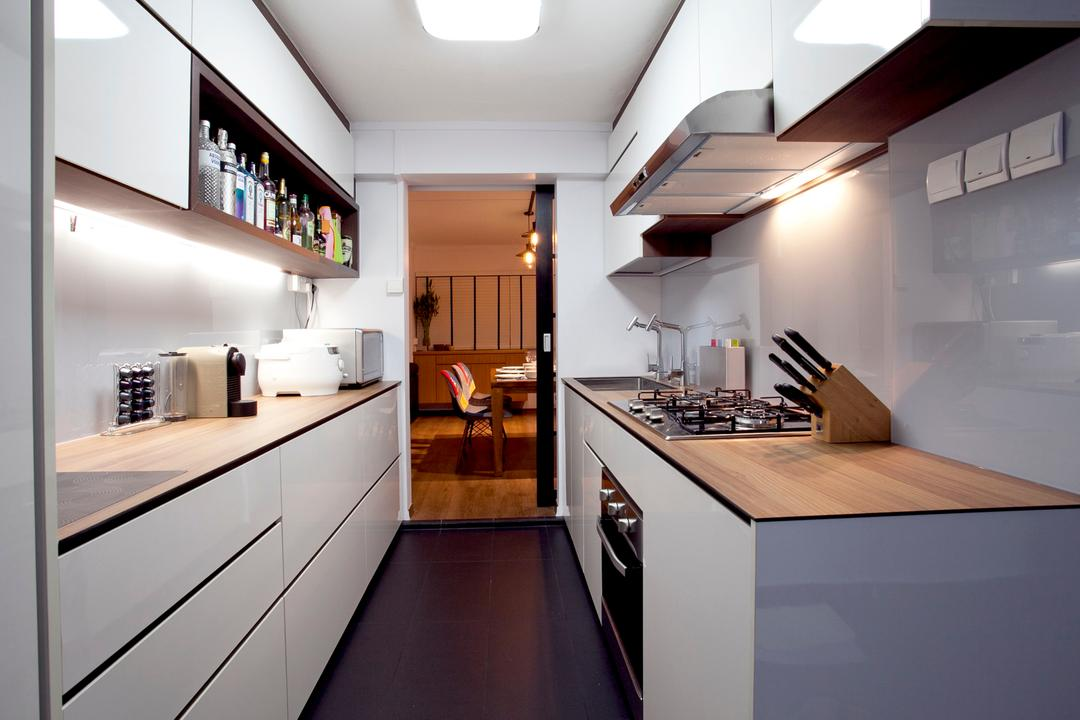 Toa Payoh (Block 202), United Team Lifestyle, Minimalistic, Contemporary, Kitchen, HDB, Kitchen Cabinet, Cabinetry, Kompacplus, White Cabinet, White And Wood, Exhaust Hood, Under Cabinet Lighting, Appliance, Electrical Device, Oven, Indoors, Interior Design