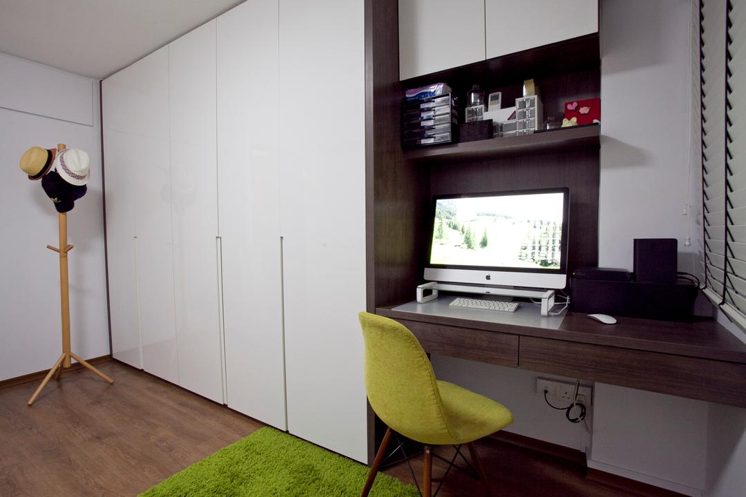 Toa Payoh (Block 202), United Team Lifestyle, Minimalistic, Contemporary, Study, HDB, Eames Chair, Green Chair, Coat Rack, Study Table, Computer, Cabinet, White Cabinet, Chair, Furniture