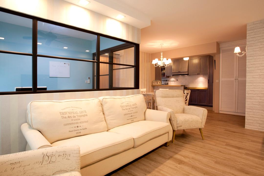 Sengkang Way (Block 451B), United Team Lifestyle, Minimalistic, Living Room, HDB, Sofa, Two Seater, White Sofa, Armchair, White, White Furniture, Clean, Wood Flooring, Light Wood Flooring, Couch, Furniture, Indoors, Interior Design