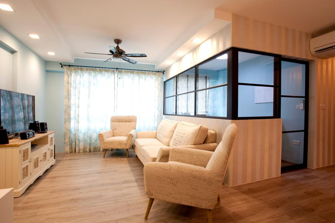Sengkang Way (Block 451B), United Team Lifestyle, Minimalistic, Living Room, HDB, Hacked Wall, Half Hack, Glass Door, Glass Door With Black Trims, Ceiling Fan, Black Ceiling Fan, Curtains, Girly, Downlight, Wallpaper, Striped Wallpaper, Tv Cabinet, Couch, Furniture