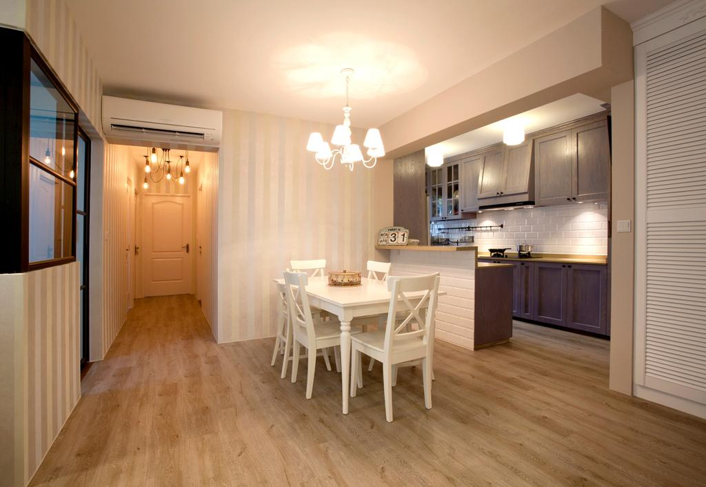 Minimalistic, HDB, Dining Room, Sengkang Way (Block 451B), Interior Designer, United Team Lifestyle, Dining Table, White Chair, Dining Chairs, Hanging Lamp, Entryway, Walkway, Door, Entrance, White, Flooring, Furniture, Table, Appliance, Electrical Device, Oven, Lighting
