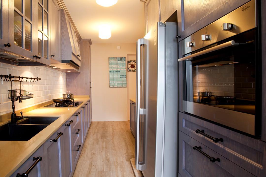 Sengkang Way (Block 451B), United Team Lifestyle, Minimalistic, Kitchen, HDB, Kitchen Handle, Kitchen Knob, Warm Lighting, Refrigerator, Grey Cabinet, Wood Countertop, Sink, Indoors, Interior Design, Room