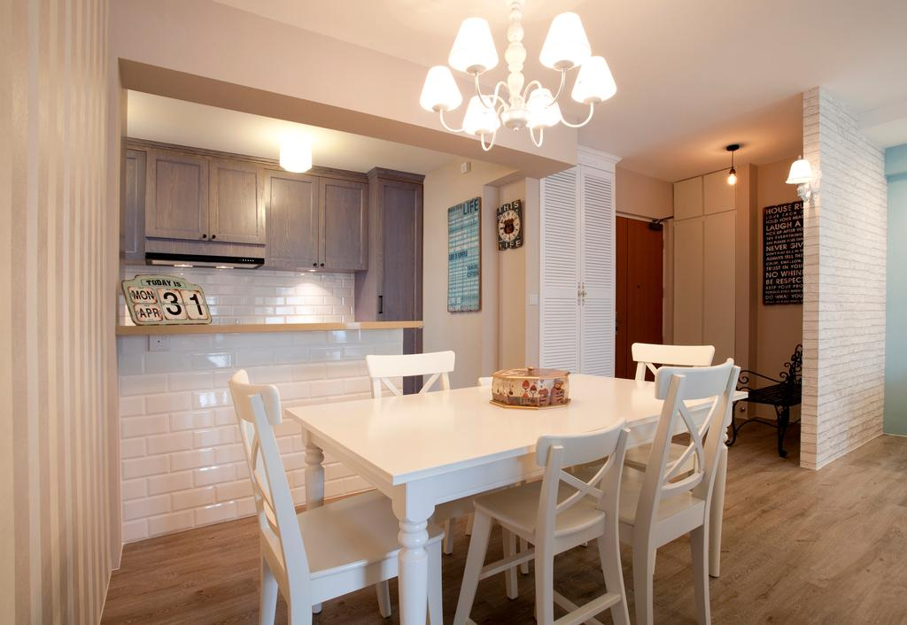 Minimalistic, HDB, Dining Room, Sengkang Way (Block 451B), Interior Designer, United Team Lifestyle, Victorian, English, French, White Furniture, White Table And Chairs, Chandelier, Subway Tiles, Indoors, Interior Design, Room, Dining Table, Furniture, Table, Chair
