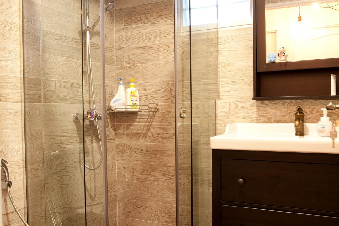 Sengkang Way (Block 451B), United Team Lifestyle, Minimalistic, Bathroom, HDB, Toilet Bowl, Shower Door, Bathroom Tiles, Brown Tiles, Bathroom Vanity, Mirror, Bathroon Sink, Indoors, Interior Design, Room, Sink, Bottle