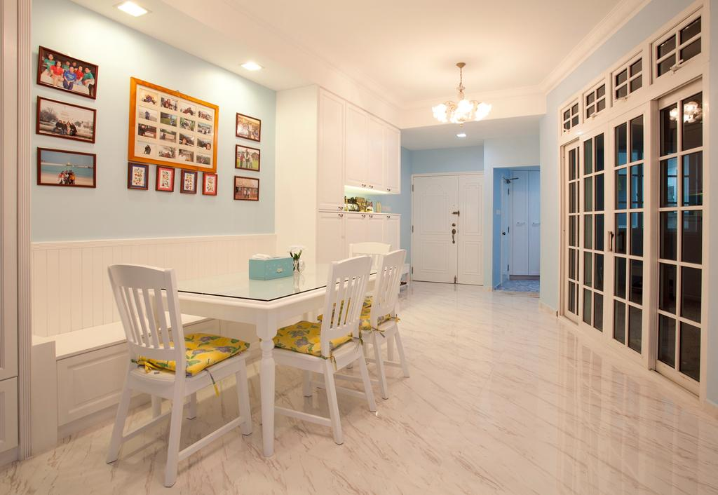 Minimalistic, Condo, Dining Room, Sin Ming Plaza, Interior Designer, United Team Lifestyle, Blue, Pastel Blue, Blue Wall, White Furniture, White Chairs, Girly, Victorian, English, French, Bench, White Bench, White, Marble Flooring, Light Colours, Soft Colours, Chair, Furniture, Flooring, Indoors, Interior Design, Room