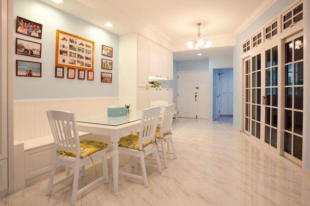 Sin Ming Plaza, United Team Lifestyle, Minimalistic, Dining Room, Condo, Blue, Pastel Blue, Blue Wall, White Furniture, White Chairs, Girly, Victorian, English, French, Bench, White Bench, White, Marble Flooring, Light Colours, Soft Colours, Chair, Furniture, Flooring, Indoors, Interior Design, Room