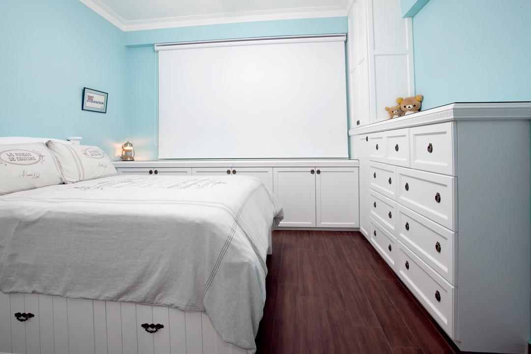 Sin Ming Plaza, United Team Lifestyle, Minimalistic, Bedroom, Condo, White Bed, , Pastel Blue, Pastel Colours, Blue Wall, Blinds, Roller Blinds, White Cabinet, English, Victorian, Furniture, Sideboard, Flooring, Indoors, Interior Design, Room, Drawer
