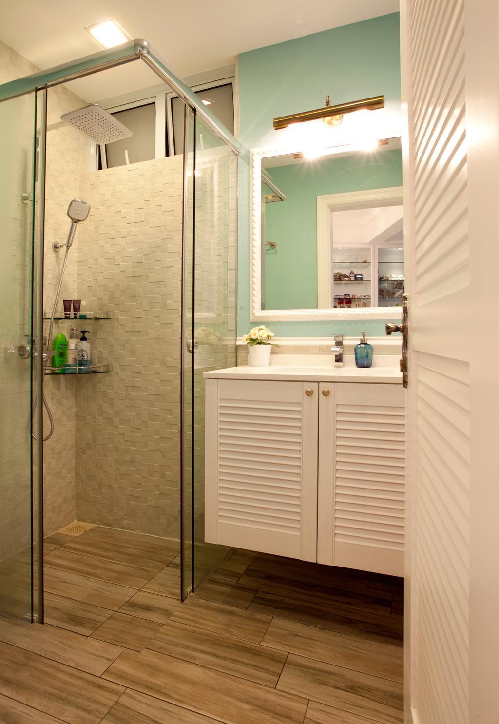 Minimalistic, Condo, Bathroom, Sin Ming Plaza, Interior Designer, United Team Lifestyle, Mint Green, Pastel Colours, Sweet Colours, Bathroom Vanity, Bathroom Cabinet, Door, White Door, Bathroom Door, Mirror, Bathroom Tiles, White Tiles, Indoors, Interior Design, Room