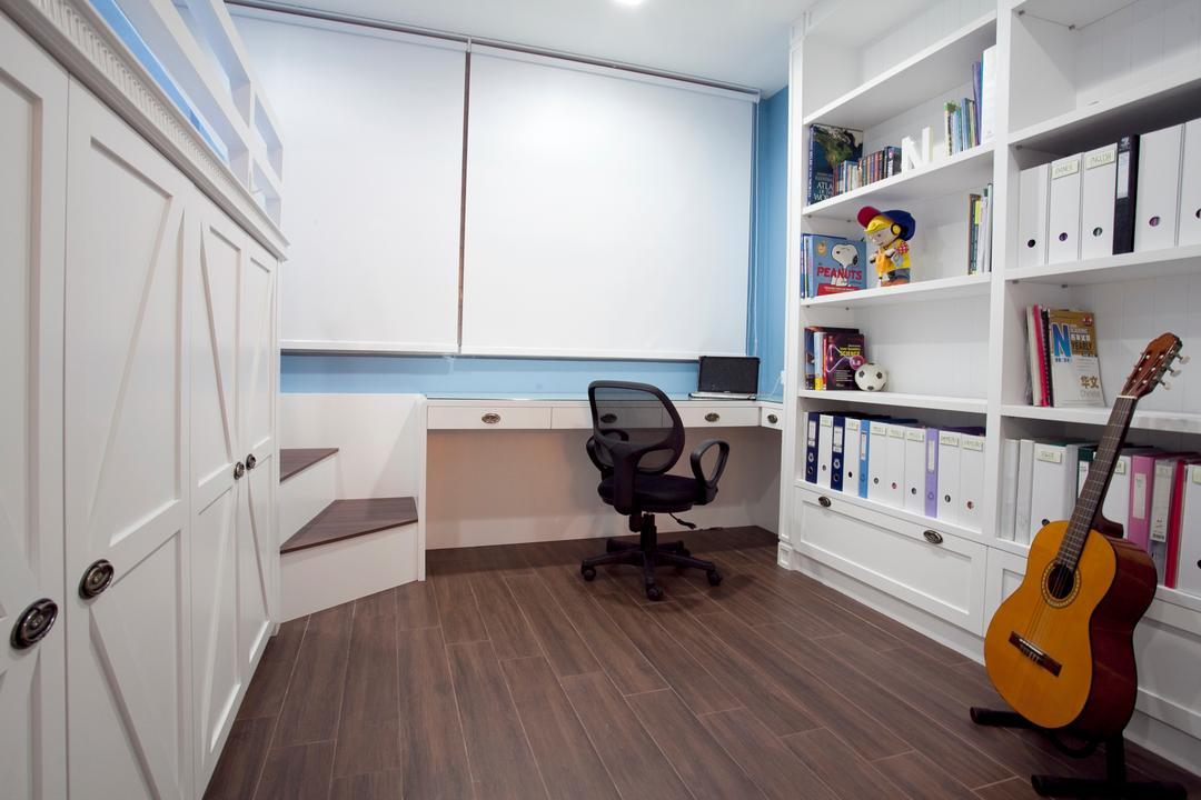 Sin Ming Plaza, United Team Lifestyle, Minimalistic, Bedroom, Condo, Wood Floor, Dark Wood Flooring, Guitar, Bookshelf, Files, Books, Storage, Shelf, Big Shelf, Office Chair, Blinds, Roller Blinds, White Cabinet