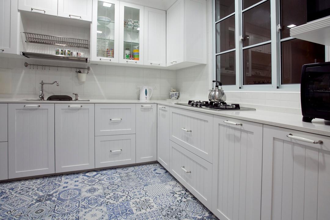 Sin Ming Plaza, United Team Lifestyle, Minimalistic, Kitchen, Condo, Exhaust Hood, Kitchen Rack, Kitchen Shelf, White Cabinet, Indoors, Interior Design, Room