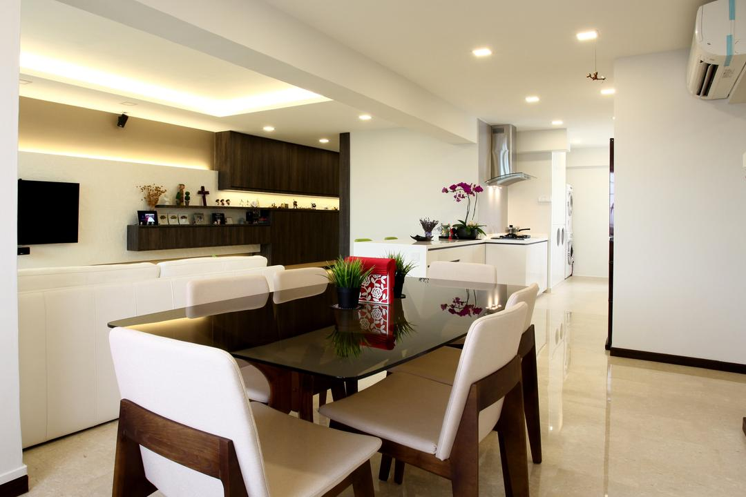 Toa Payoh (Block 62), United Team Lifestyle, Contemporary, Dining Room, HDB, Dining Table, Dining Chairs, White Chairs, Downlight, Spacious, Clean, Indoors, Interior Design, Room, Chair, Furniture, Table
