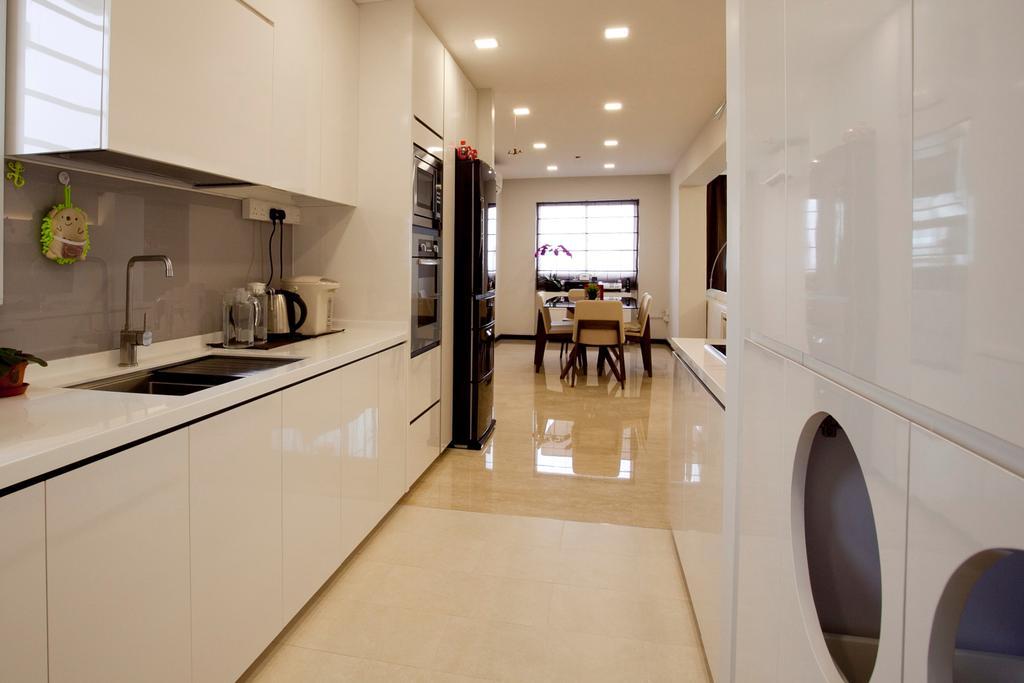 Contemporary, HDB, Kitchen, Toa Payoh (Block 62), Interior Designer, United Team Lifestyle, Flooring, White Board, Indoors, Interior Design
