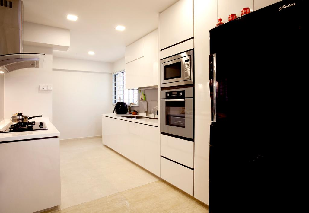 Contemporary, HDB, Kitchen, Toa Payoh (Block 62), Interior Designer, United Team Lifestyle, White Kitchen, Kitchen Cabinet, White Kitchen Cabinet, Refrigerator, Black Refrigerator, Downlight, Exhaust Hood, Indoors, Interior Design