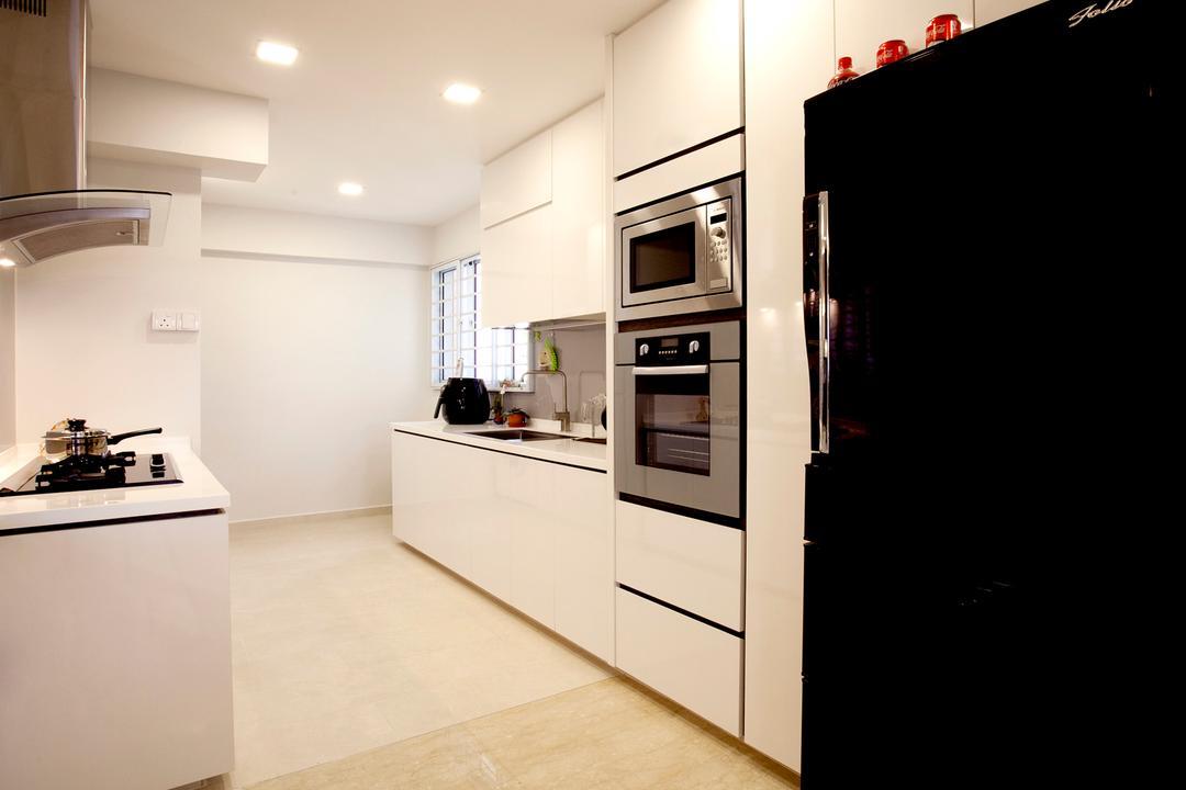 Toa Payoh (Block 62), United Team Lifestyle, Contemporary, Kitchen, HDB, White Kitchen, Kitchen Cabinet, White Kitchen Cabinet, Refrigerator, Black Refrigerator, Downlight, Exhaust Hood, Indoors, Interior Design