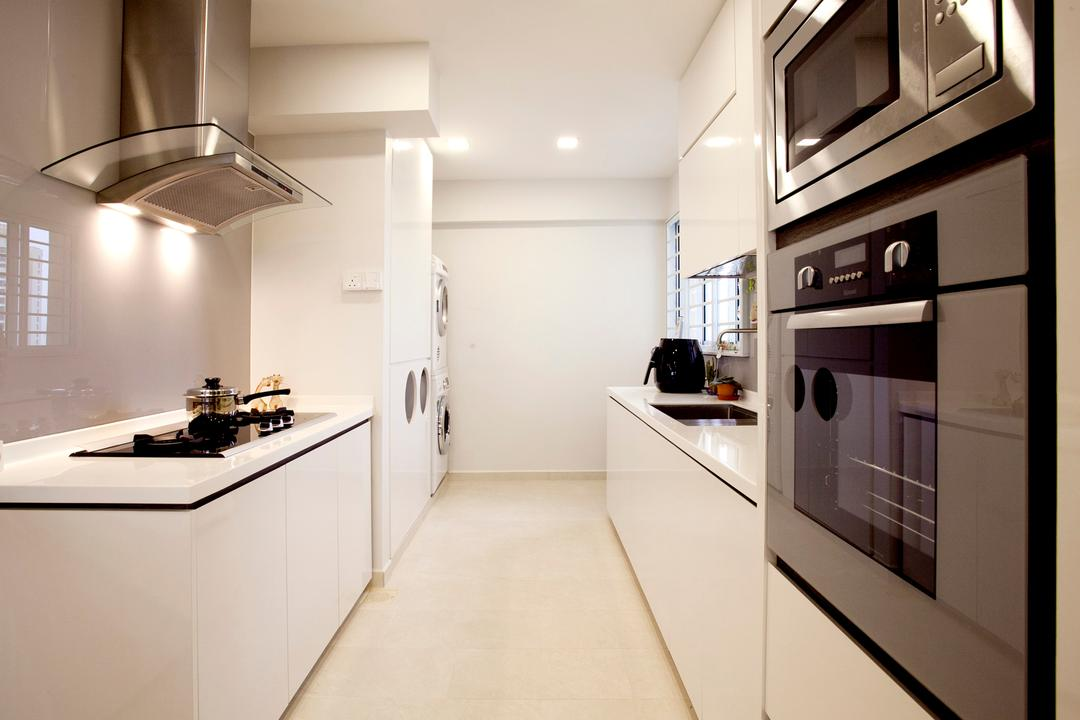 Toa Payoh (Block 62), United Team Lifestyle, Contemporary, Kitchen, HDB, Exhaust Hood, Oven, Microwave, Flooring, Indoors, Interior Design