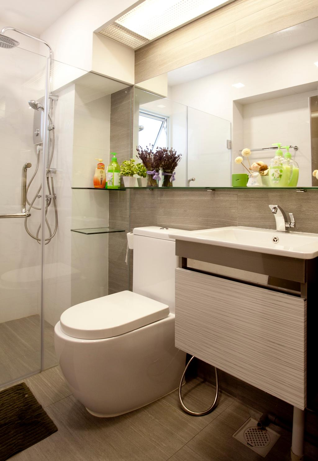 Contemporary, HDB, Bathroom, Toa Payoh (Block 62), Interior Designer, United Team Lifestyle, Water Closet, Toilet Bowl, Bathroom Vanity, Sink, Bathroom Sink, Mirror, Bathroom Shelf, Flora, Jar, Plant, Potted Plant, Pottery, Vase, Toilet, Indoors, Interior Design, Room