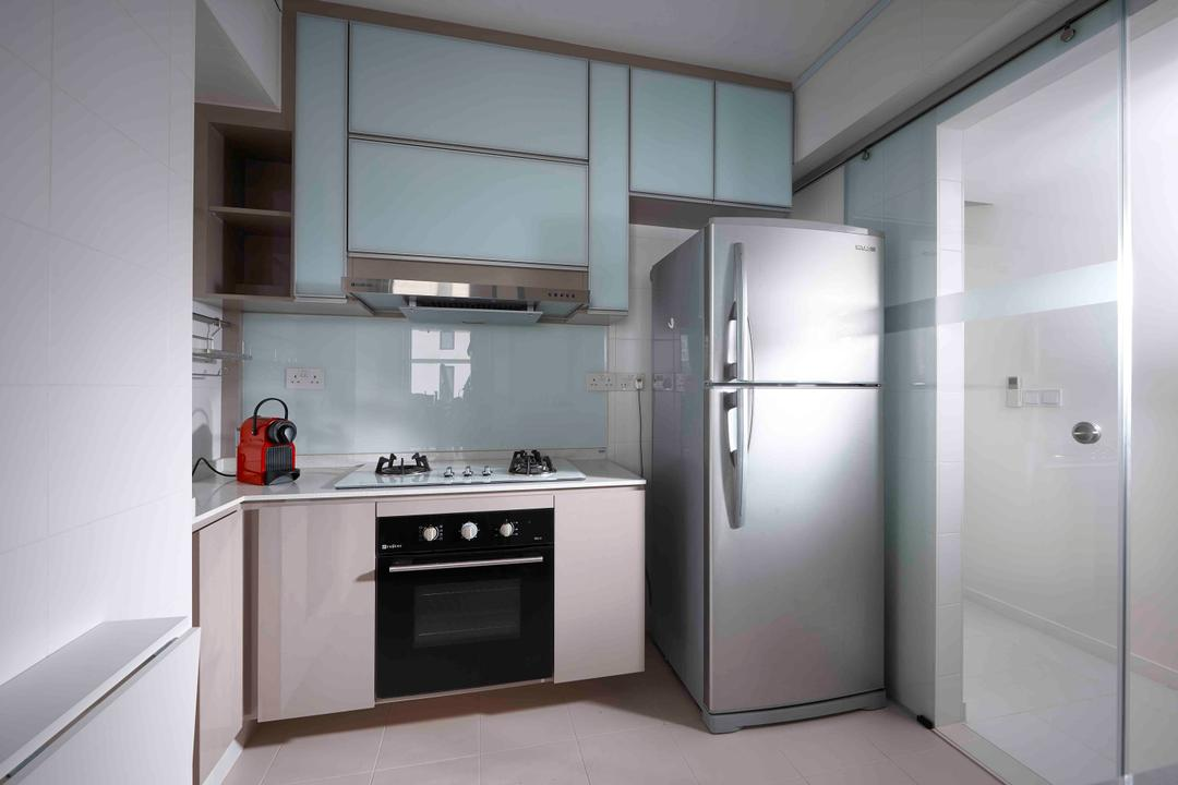 Dawson Road, R+R Design Studio, Modern, Kitchen, Condo, Robin Blue, Light Blue, Baby Blue, Fridge, Refrigerator, Small Kitchen, L Shaped Kitchen, Robin Egg Blue, Oven, Appliance, Electrical Device, Indoors, Interior Design, Room