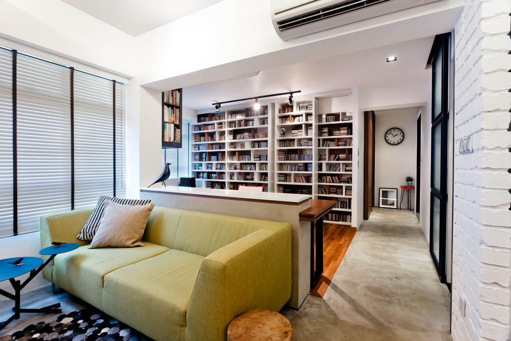 Scandinavian, HDB, Living Room, Dover Crescent (Block 28), Interior Designer, Prozfile Design, Sofa, Venetian Blinds, Bookcase, Bookshelf, Shelf, Shelves, White, Track Lighting, Cement Flooring, Clock, Coffee Table, Table, Brick Wall, White Brick Wall, Raw, Couch, Furniture