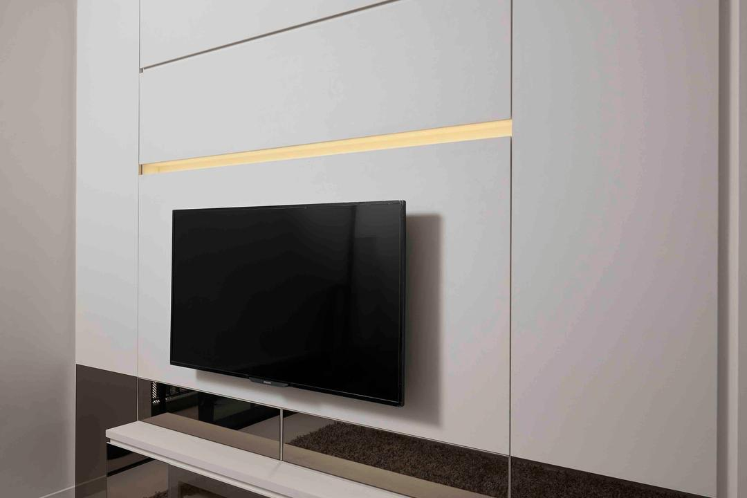 Dawson Road, R+R Design Studio, Modern, Living Room, Condo, Tv Cabinet, Feature Wall, Floating Console, Electronics, Lcd Screen, Monitor, Screen