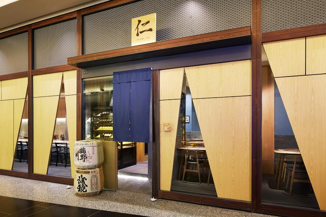 Sushi Jin, Fineline Design, Traditional, Commercial, Alcohol, Beverage, Drink, Sake, Triangle