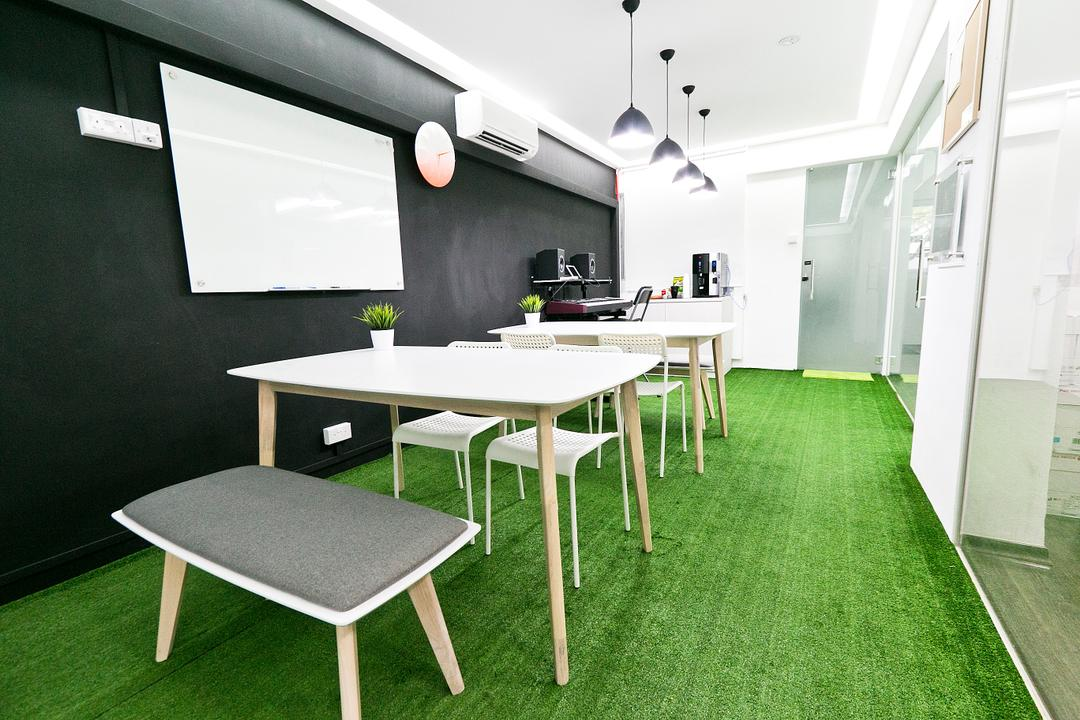 New Dawn Learning Centre, Singapore Carpentry, Minimalistic, Commercial, High Table, Bench, Table, , White Furniture, Green Carpet, Carpeted Floor, Doors, Whiteboard, Pendant Lamp, Hanging Lamp