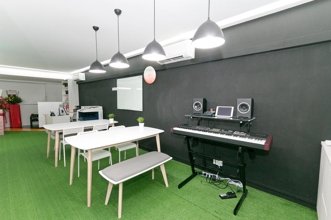New Dawn Learning Centre, Singapore Carpentry, Minimalistic, Commercial, Keyboard, Black Wall, Carpeted Floor, Aircon