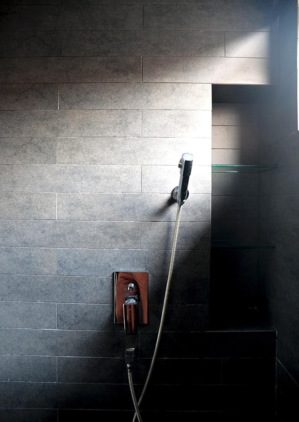 Contemporary, Condo, Bathroom, Leicester, Interior Designer, Singapore Carpentry, Resort Style, Shower Head, Grey Tiles, Grey Bathroom Tiles