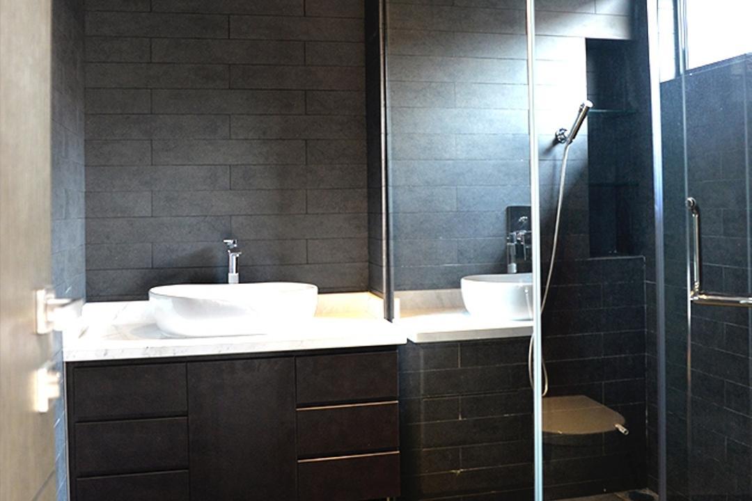 Leicester, Singapore Carpentry, Contemporary, Bathroom, Condo, Bathroom Vanity, Vessel Sink, Bathroom Tiles, Grey Wall Tiles, Grey Floor Tiles, Grey Tiles, Shower Screen