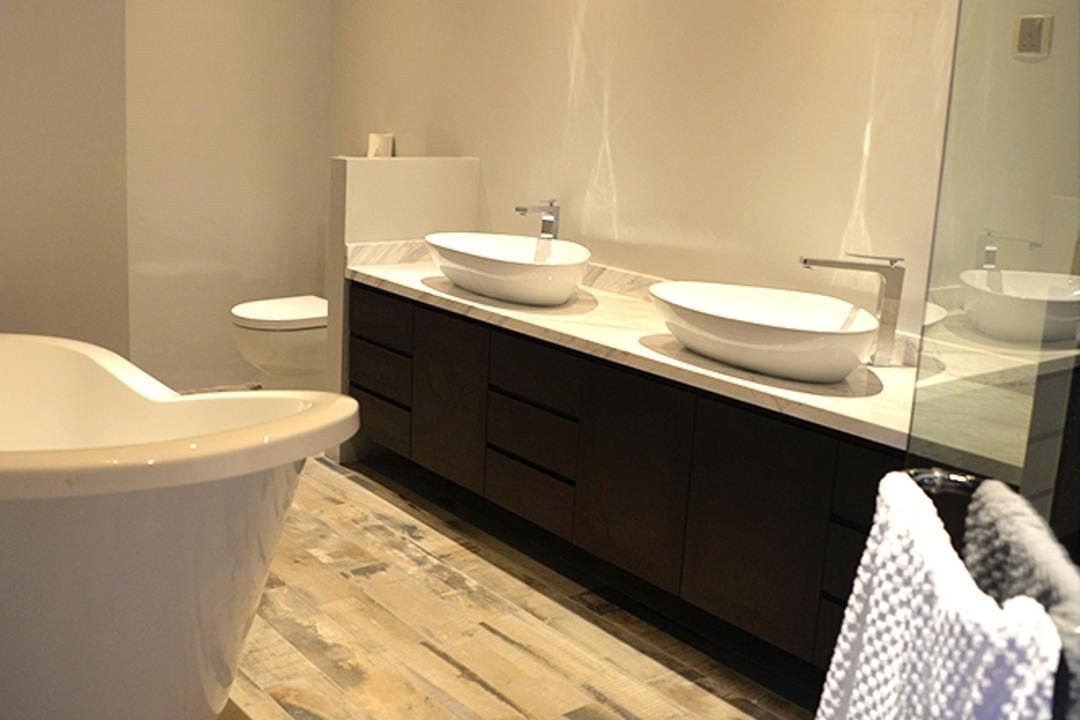Leicester, Singapore Carpentry, Contemporary, Bathroom, Condo, Double Vanity, Double Sink, Vessel Sink, Bathtub, Downlight, Wood Flooring