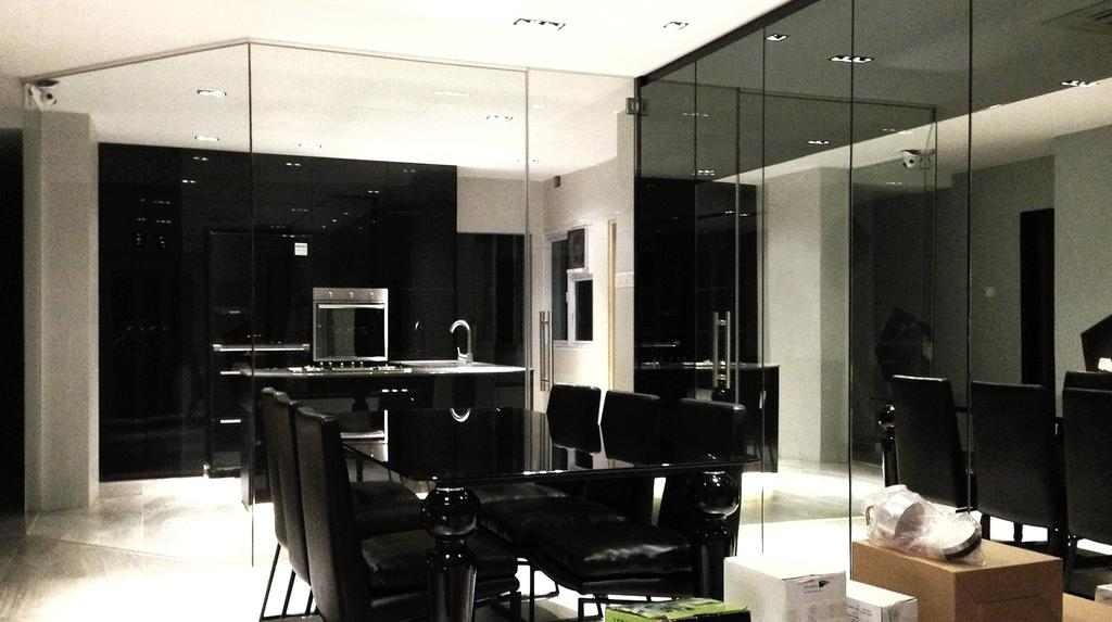 Contemporary, Condo, Living Room, Leicester, Interior Designer, Singapore Carpentry, Mirror Panels, Reflective Panels, Black Table, Black Chairs, Black Furniture, Black And White, Dining Table, Dining Chairs