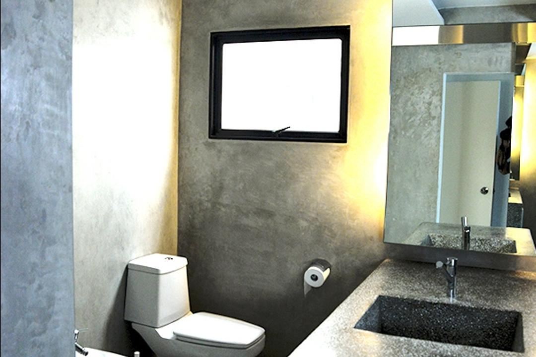 237 Arcadia Road, Singapore Carpentry, Contemporary, Bathroom, Condo, Grey Wall, Cement, Concrete, Water Closet, Toilet Bowl, Grey, Gray, Mirror, Bathroom Cabinet