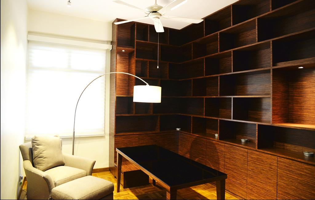 Contemporary, Condo, Study, 237 Arcadia Road, Interior Designer, Singapore Carpentry, Lounge Chair, Arc Lamp, Black Table, Floor Lamp, Standing Lamp, White Lounge Chair, Shelf, Big Shelf, Storage Space, Wood Grain, Ceiling Fan, Blinds, Roller Blinds