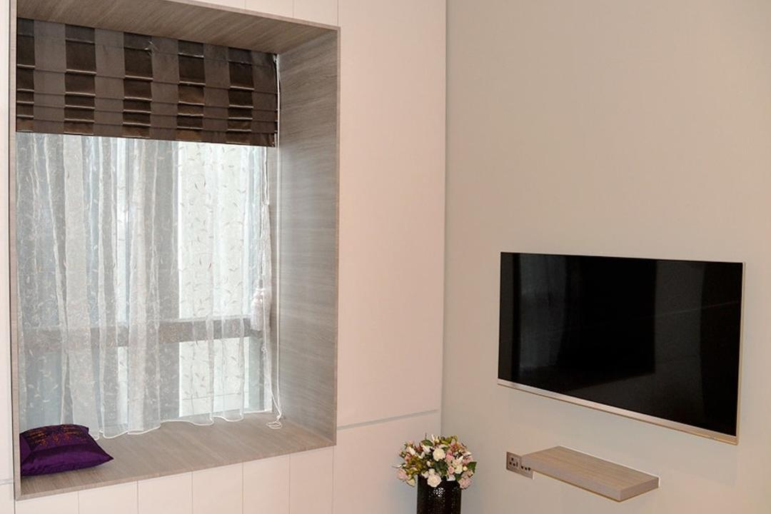 Leedon Residences, Singapore Carpentry, Contemporary, Bedroom, Condo, Bay Window, Curtain, Patterned Curtain, Wall Ledge, Wall Mounted Tv