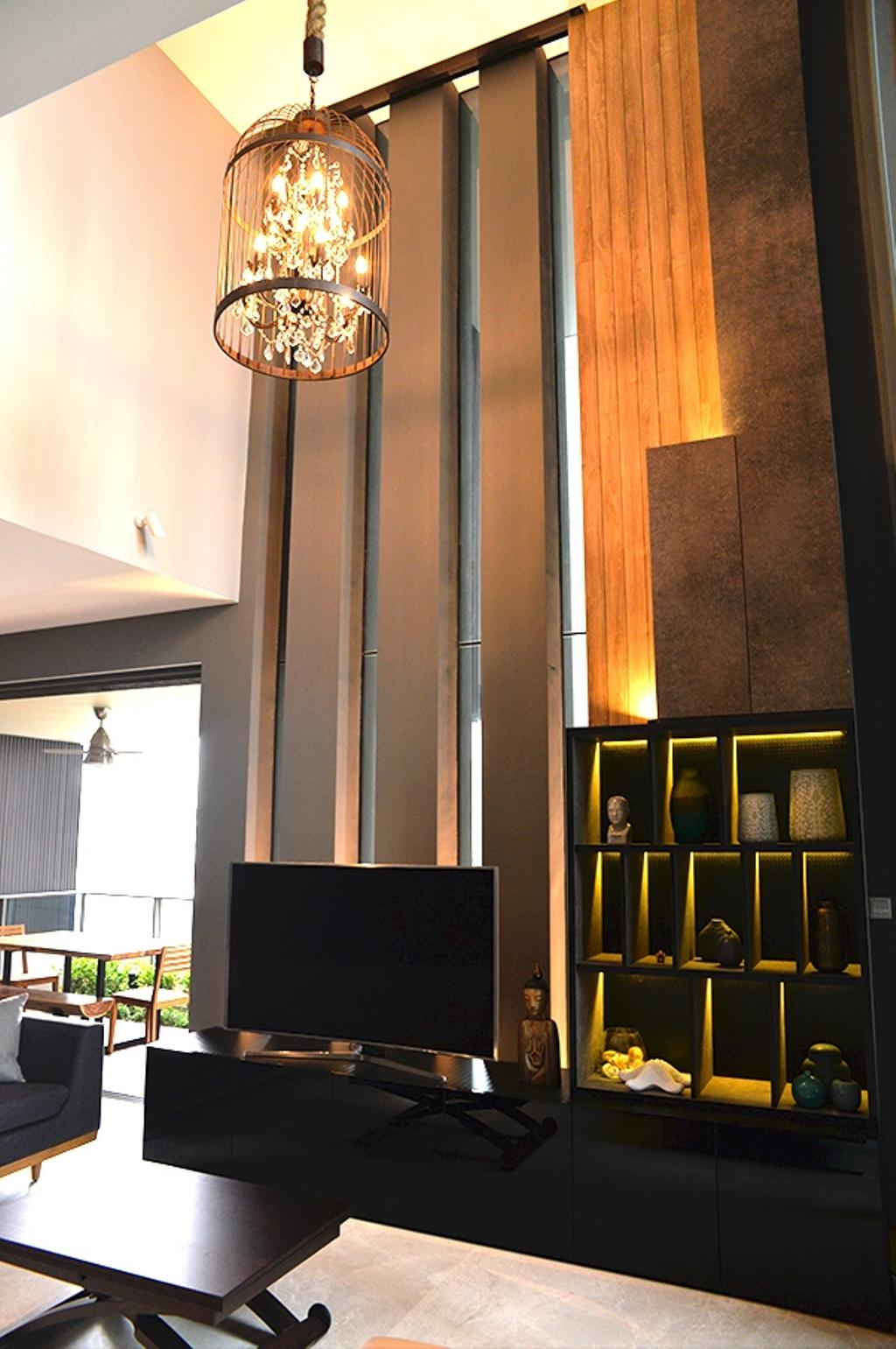 Contemporary, Condo, Leedon Residences, Interior Designer, Singapore Carpentry, High Ceiling, Feature Wall, Wood Panels, Hanging Lamp, Crystal Lights