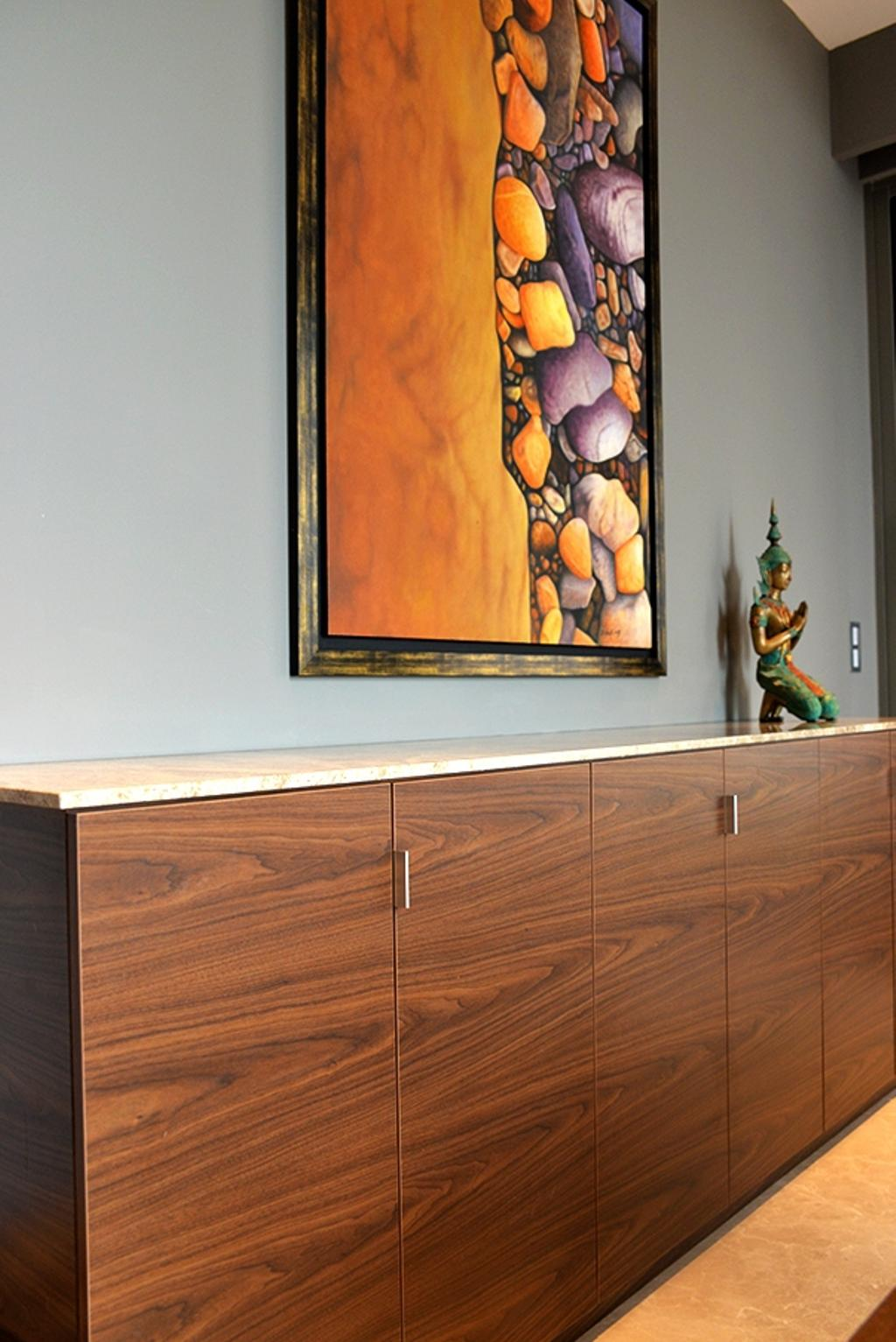 Contemporary, Condo, Dining Room, Leedon Residences, Interior Designer, Singapore Carpentry, Wood Grain, Side Cabinet, Grey Wall