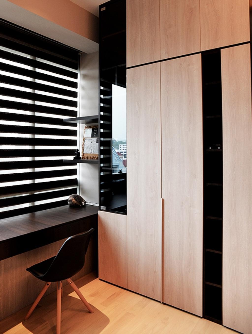 Contemporary, Condo, Study, Leedon Residences, Interior Designer, Singapore Carpentry, Dsw Chair, Eames Chair, Black Dsw Chair, Blinds, Korean Blinds, Black Blinds, Cabinet