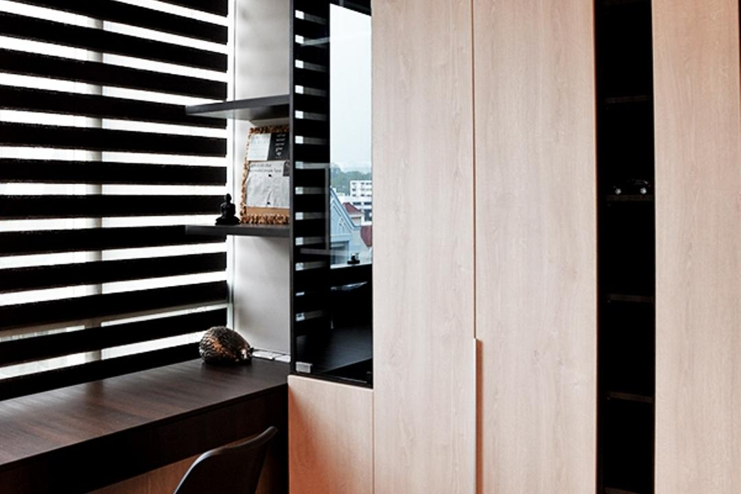 Leedon Residences, Singapore Carpentry, Contemporary, Study, Condo, Dsw Chair, Eames Chair, Black Dsw Chair, Blinds, Korean Blinds, Black Blinds, Cabinet