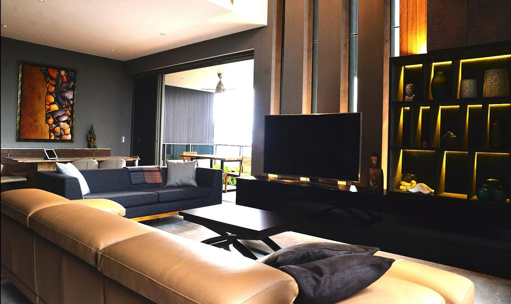 Contemporary, Condo, Living Room, Leedon Residences, Interior Designer, Singapore Carpentry, Feature Wall, Tv Cabinet, Tv Console, Sofa, Leather Sofa, L Shaped Sofa, Dark Colours, Chic, Dark Room, Coffee Table, Two Seater, Warm Lighting