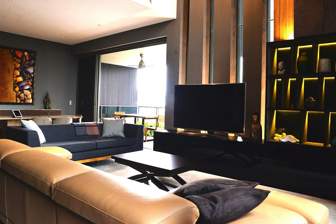 Leedon Residences, Singapore Carpentry, Contemporary, Living Room, Condo, Feature Wall, Tv Cabinet, Tv Console, Sofa, Leather Sofa, L Shaped Sofa, Dark Colours, Chic, Dark Room, Coffee Table, Two Seater, Warm Lighting