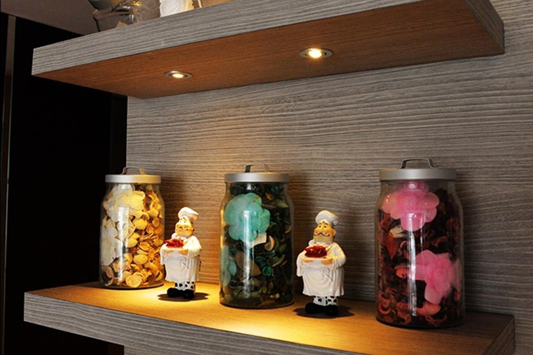 Simei Lane (Block 168C), Singapore Carpentry, Contemporary, Living Room, HDB, Wall Shelf, Wall Ledge, Under Cabinet Lighting, Home Decor, Ornaments