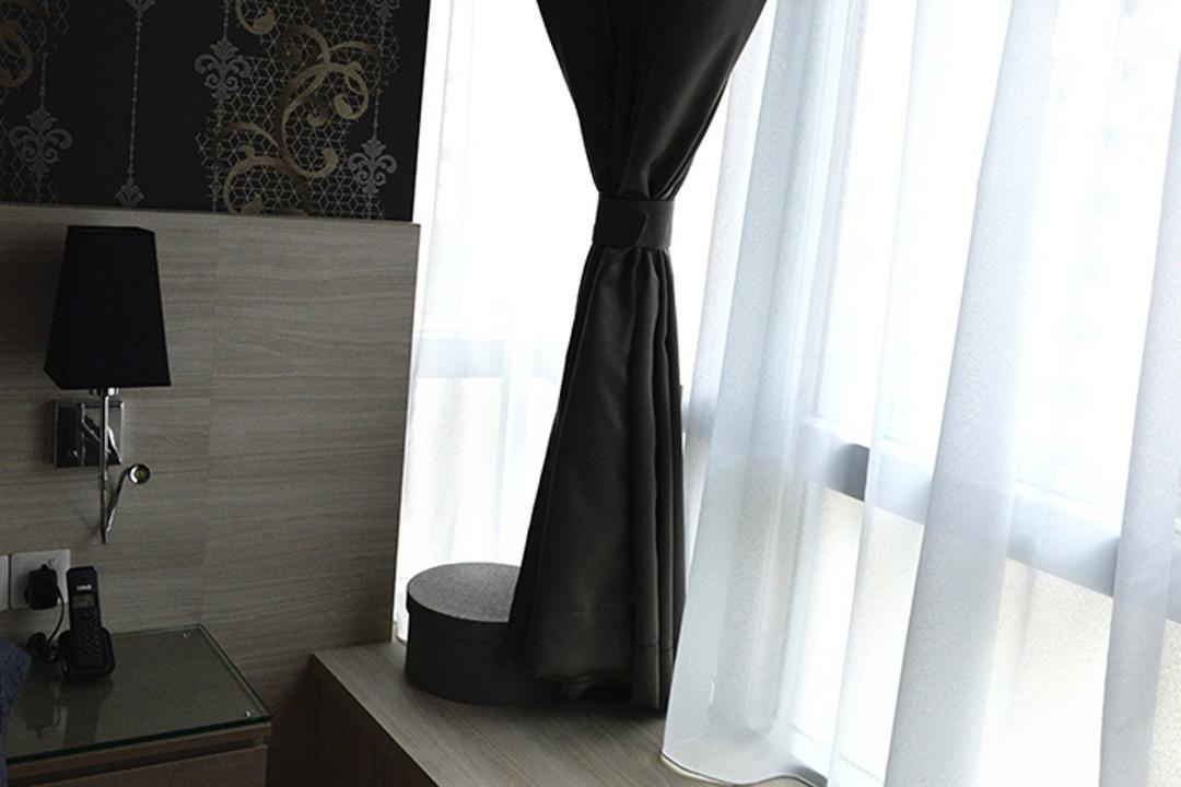 Simei Lane (Block 168C), Singapore Carpentry, Contemporary, Bedroom, HDB, Bay Window, Curtain, Dark Coloured Curtain
